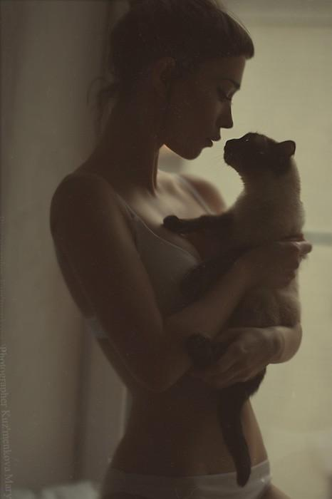 cat, girl, photography, portrait - inspiring picture