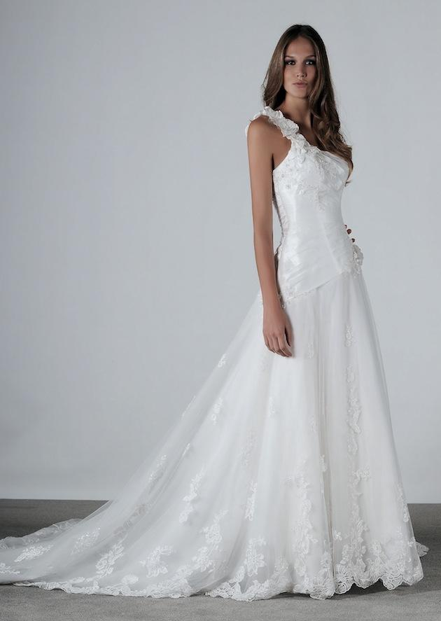 Wedding Dresses: One-Shoulder Gowns | InsideWeddings.com