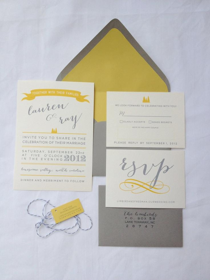 Grey And Yellow Wedding Invitation Suite 3 75 Our Real Weddi