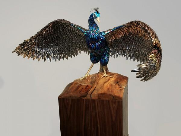 Incredible Peacocks Constructed from Beauty Supplies | Colossal