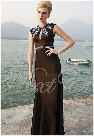 Sultry Black Beaded High Neck Satin Evening Gown