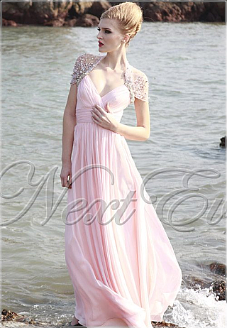 Lovely Pink Queen Anne Neckline Chiffon Evening Gown