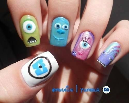 Monster Inc Nails | via | We Heart It