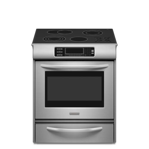 Shop KitchenAid 30-Inch Smooth Surface Slide-In Electric Range (Color: Stainless Steel) at Lowes.com