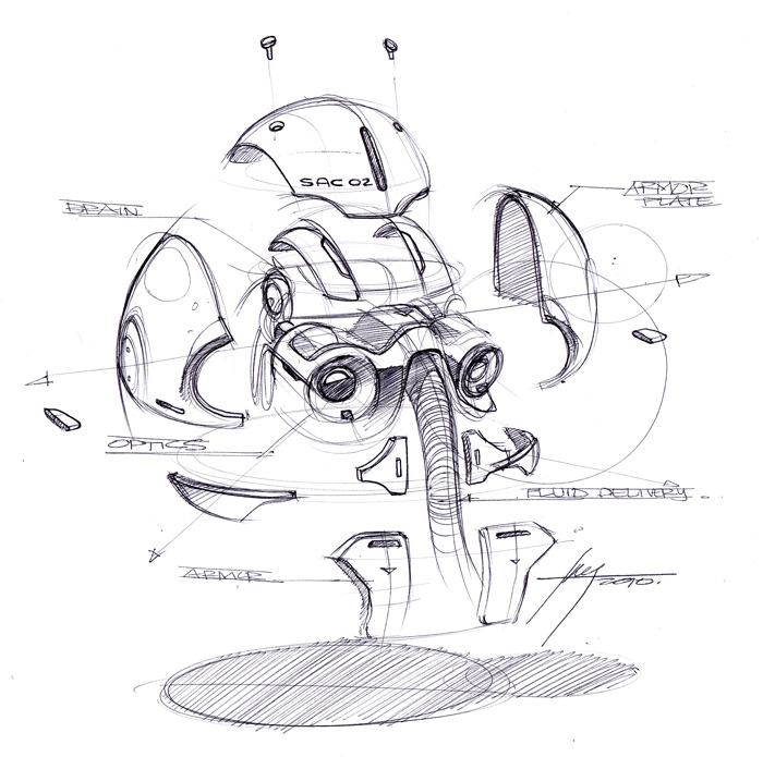 Sketch-A-Day 98: Exploded Robotic Head | Sketch-A-Day | Sketches by Spencer Nugent