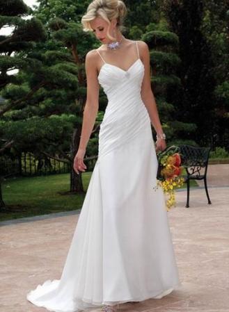 A-Line/Princess Strapped V-Neck Brush Train Hi-Lo Satin/Chiffon Wedding Dress HSC10174 [HSC10174] - US$129.99 : Myidress.com