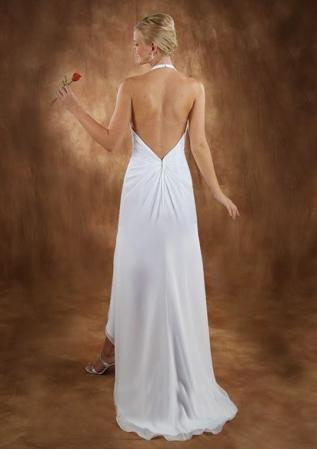 Modest A-line/princess halter neckline sleeveless chiffon 2010 tea-length 2010 sexy wedding dress MYIWDS0485 [MYIWDS0485] - US$129.00 : Myidress.com