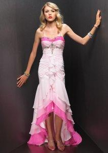 Low High Hem Sheath Ruffled Tiers Satin Prom Dress [#UD1133] - Udreamybridal.com