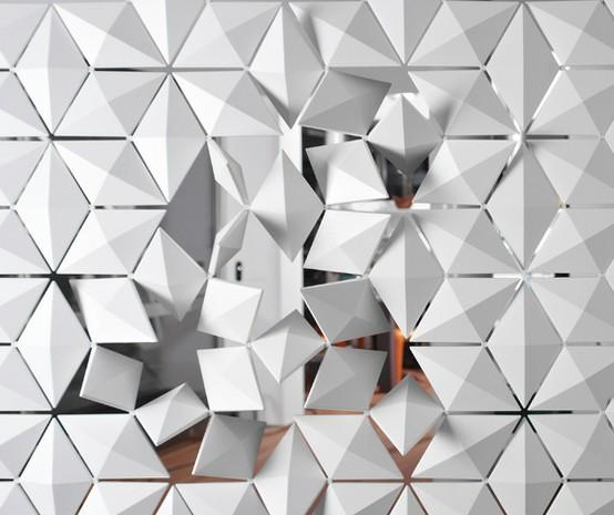 monochrome spaces. / 'Facet' space divider, 3form