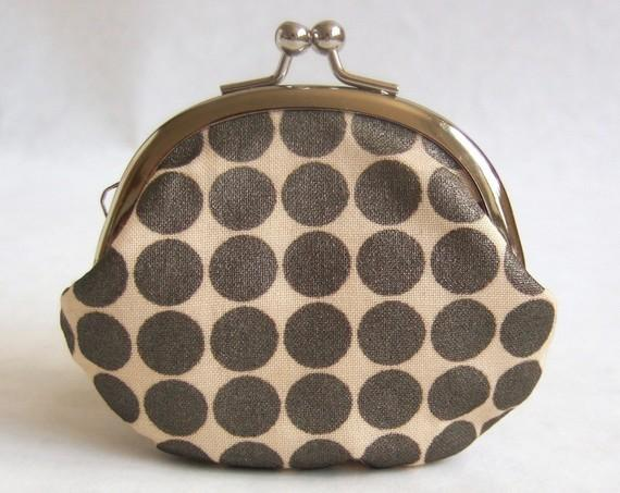 Handmade coin purse bronze dots on cream by oktak on Etsy