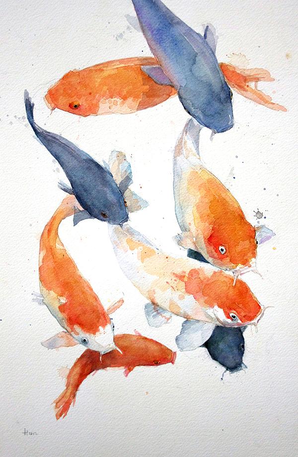 "Allen Egan: ""Koi Carp"", Watercolor. | Inspiration DE"