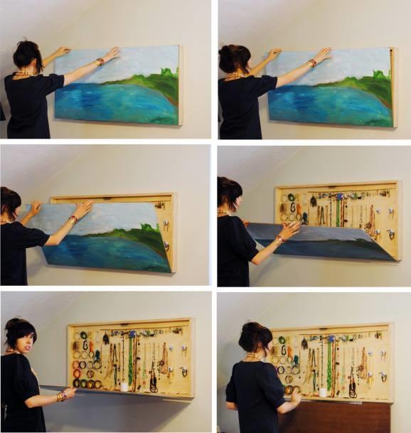 DIY Hidden Jewelry Hanger Wall Art | UsefulDIY.com