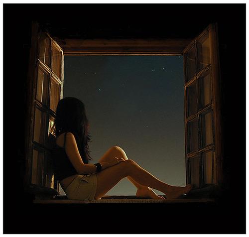 girl, alone, stars, wish, night - image #543111