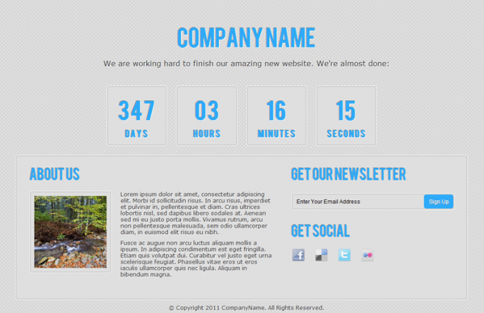 Free Coming Soon Template | Webdesigner Lab
