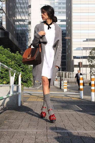 Aquascutum Shirt Dress, Fendi Bag, Max Mara Socks //