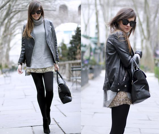Zara Skirt, H&M Leather Jacket //