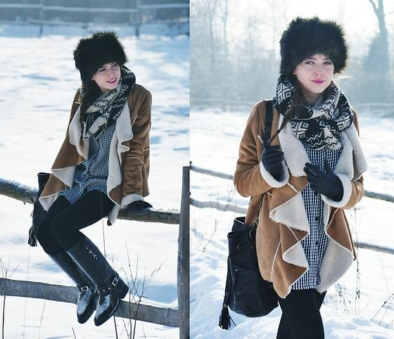 Mango Scarf, Bag, Boots, Seconhand Shirt, Random Shop Hat, Coat //