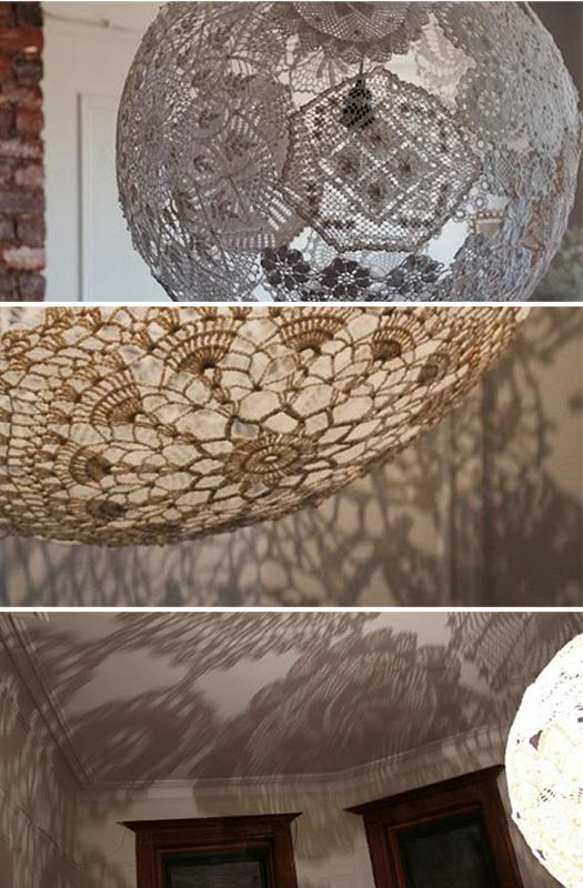 More Design Please - MoreDesignPlease - DIY Doily Lamp