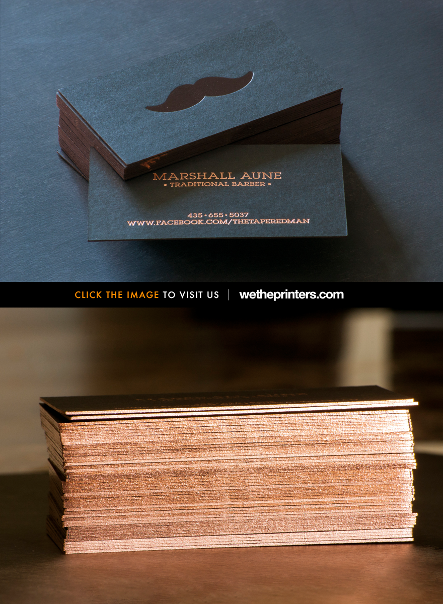 24pt Black Stock - Letterpress Business Card w/ Foil Edges ...
