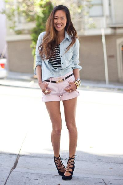 Pink Pink Banana Republic Shorts, Sky Blue Denim Banana Republic Shirts |
