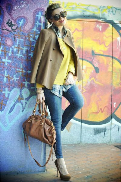 Burnt Orange Zara Jackets, Blue Zara Jeans, Carrot Orange Miu Miu Bags |
