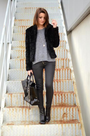 H&M Furry Coat, H&M Sweater, Pull&Bear Pants, 3.1 Phillip Lim Bag //
