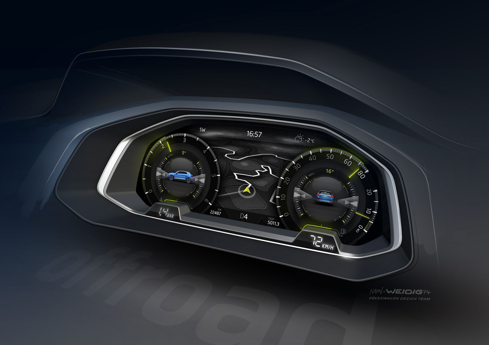 Volkswagen T-ROC Concept - Interior Design Sketch - Car Body Design