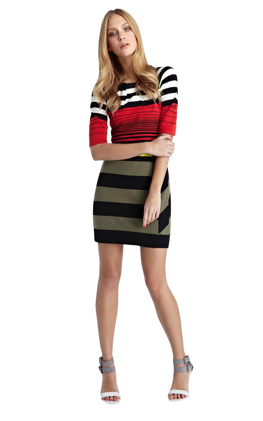 Karen Millen 3/4 Sleeved Stripe Knitted Dress Red :