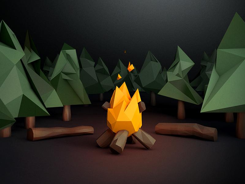 Low poly campfire scene by John Starr