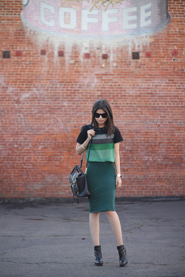 GREEN PENCIL SKIRT JUXTAPOSITION | #OOTD | Pinterest