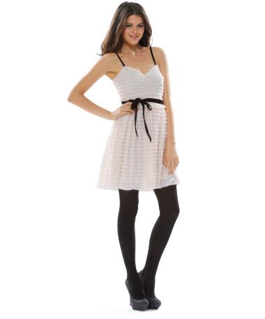 RUFFLES & RIBBONS SLIP TOP DRESS - Betsey Johnson