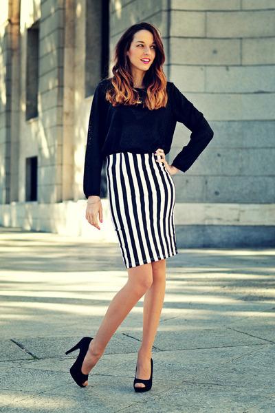 White Pencil Skirt Choiescom Skirts, Black Animal Print H&M Sweaters |