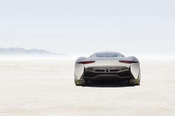 Official: Jaguar C-X75 Hybrid Supercar goes into Production: Wallpaper Jaguar C-X75 Hybrid Supercar rear view on desert | Roogio.com