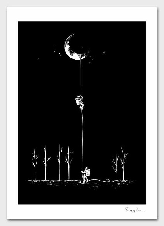 Reach For The Moon by flyingmouse365 on Etsy