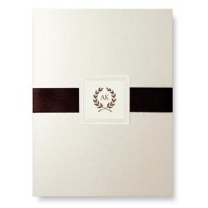 William Arthur - Opal Folder with Ecru Pearl Double Bordered Invitation Layer - 81-86871W49