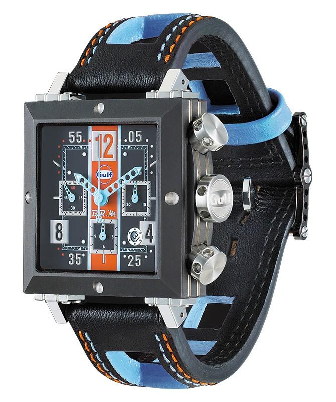 BRM-MANUFACTURE RACING WATCH SD37 GULF BLACK PVD TITANIUM CASE LIMITED 200pcs - SD-GULF - BRM