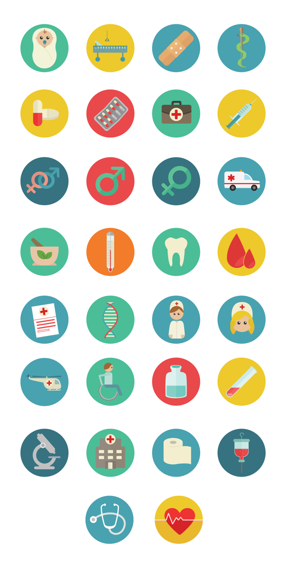 Medical Colorful Flat SVG icons on