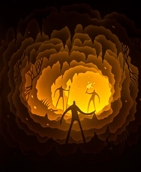 Intricate Paper Cut Light Boxes Tell Imaginative Tales About Surreal Characters - DesignTAXI.com
