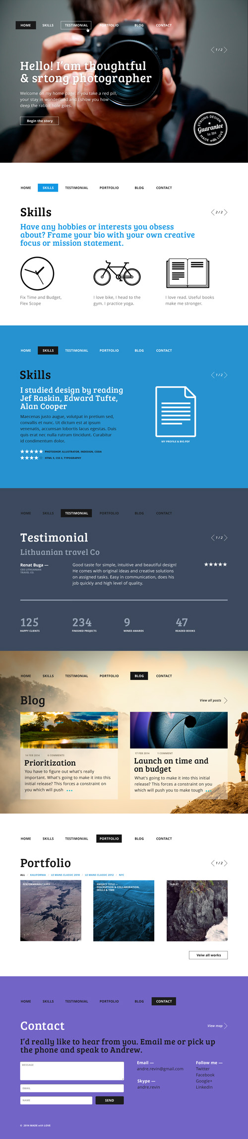 One Page Business Psd Templates | Design | | Inspiration DE