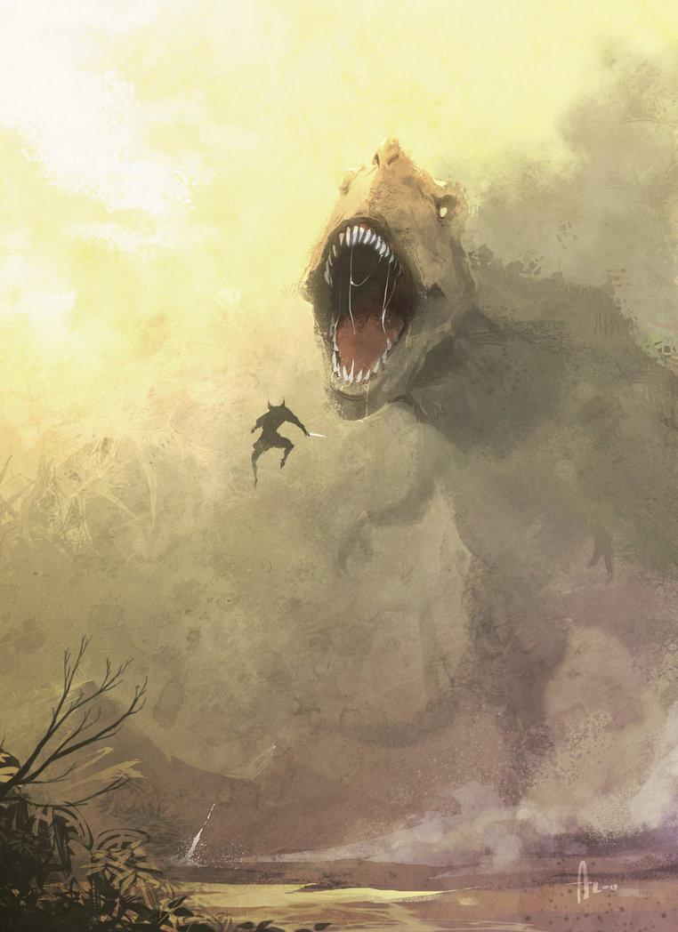 Wolverine vs T-rex by ~nJoo
