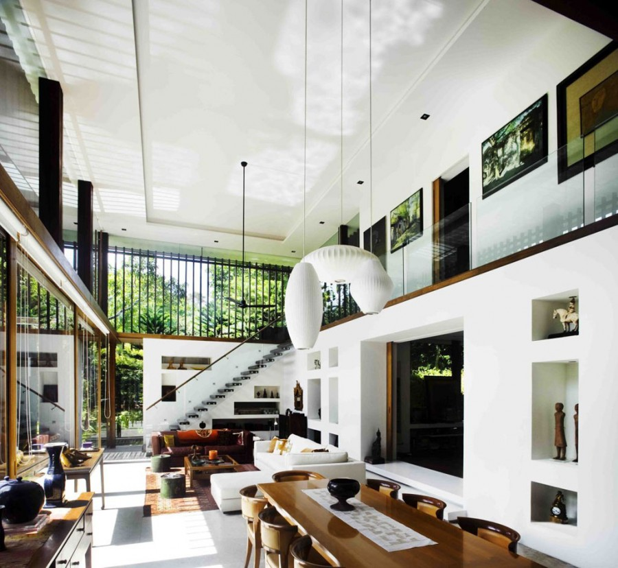 Sun house in singapore photo 13 double height living room with contemporary interior design - Ideal ceiling height for a house what matters ...