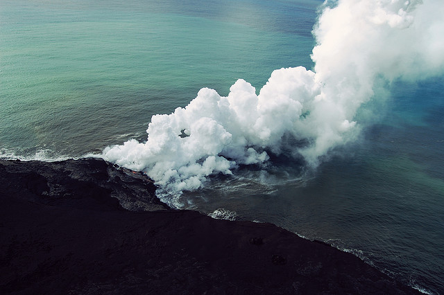 lava + sea = lots of steam | Flickr - Photo Sharing!