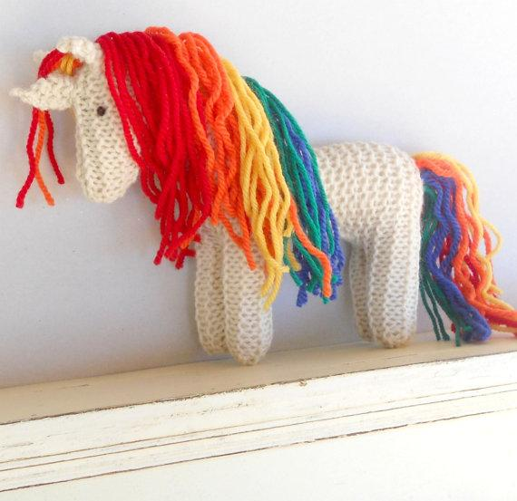 Earth Pony Waldorf Toy Rainbow Unicorn Stuffed Animal by woolies