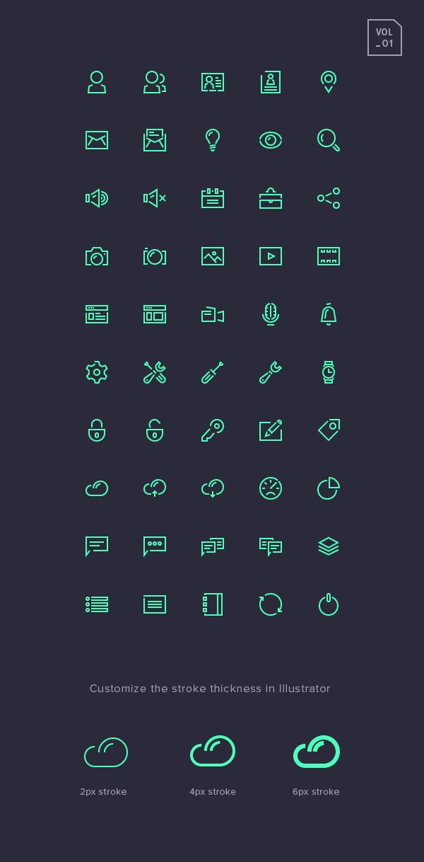 Stroke Gap Icons Set Vol.1   GraphicBurger