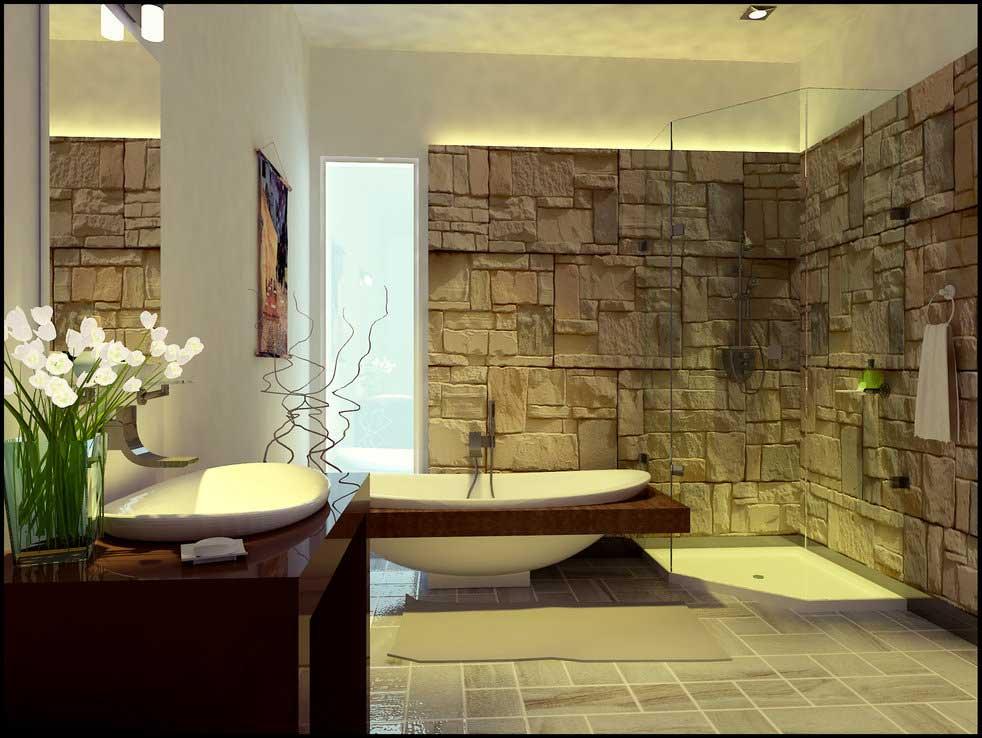 Natural Modern Style Glass Door Elegant Tub Vanity Sink Stone Bathroom Wall With Extraordinary Tone | Great Interior Design Ideas
