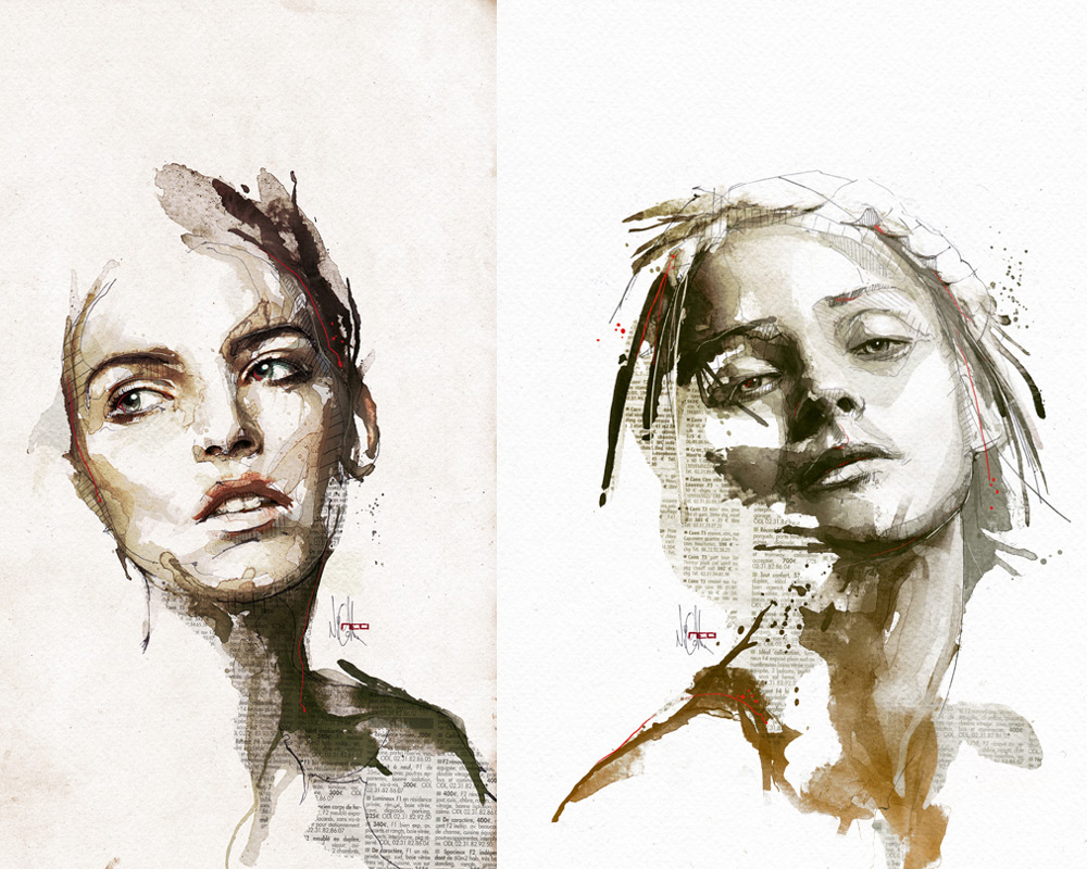 Mixed Media Portraits by Florian Nicolle | Colossal