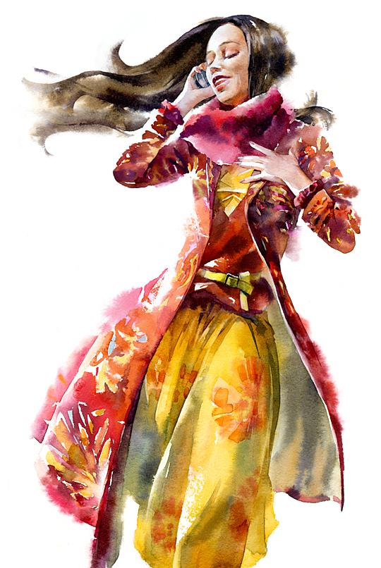 Watercolor girls on Illustration Served