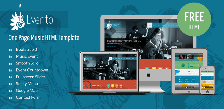 Evento   Free Music Event Template   ShapeBootstrap  Event Templates Free