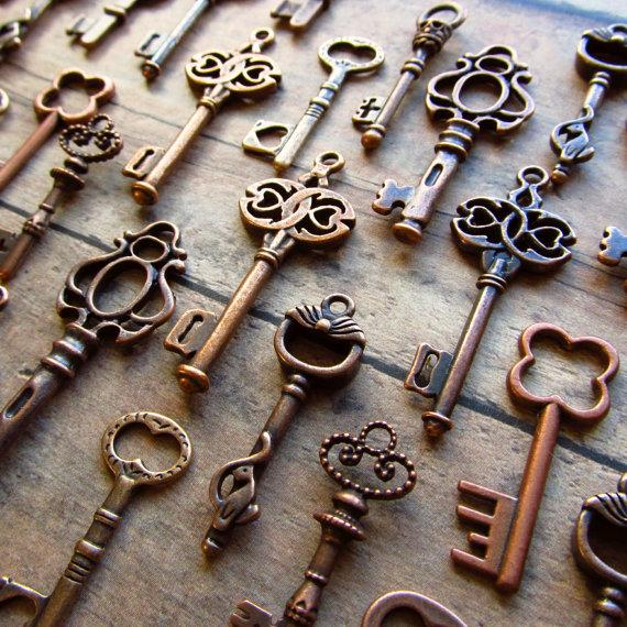 Skeleton Key Charm Assortment in COPPER by SisterNomadSupplies