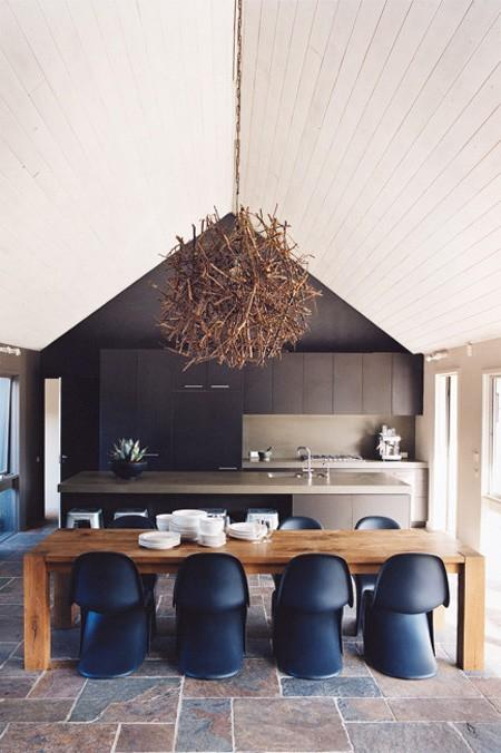 Kitchens and Dining / navy chairs + twig pendant